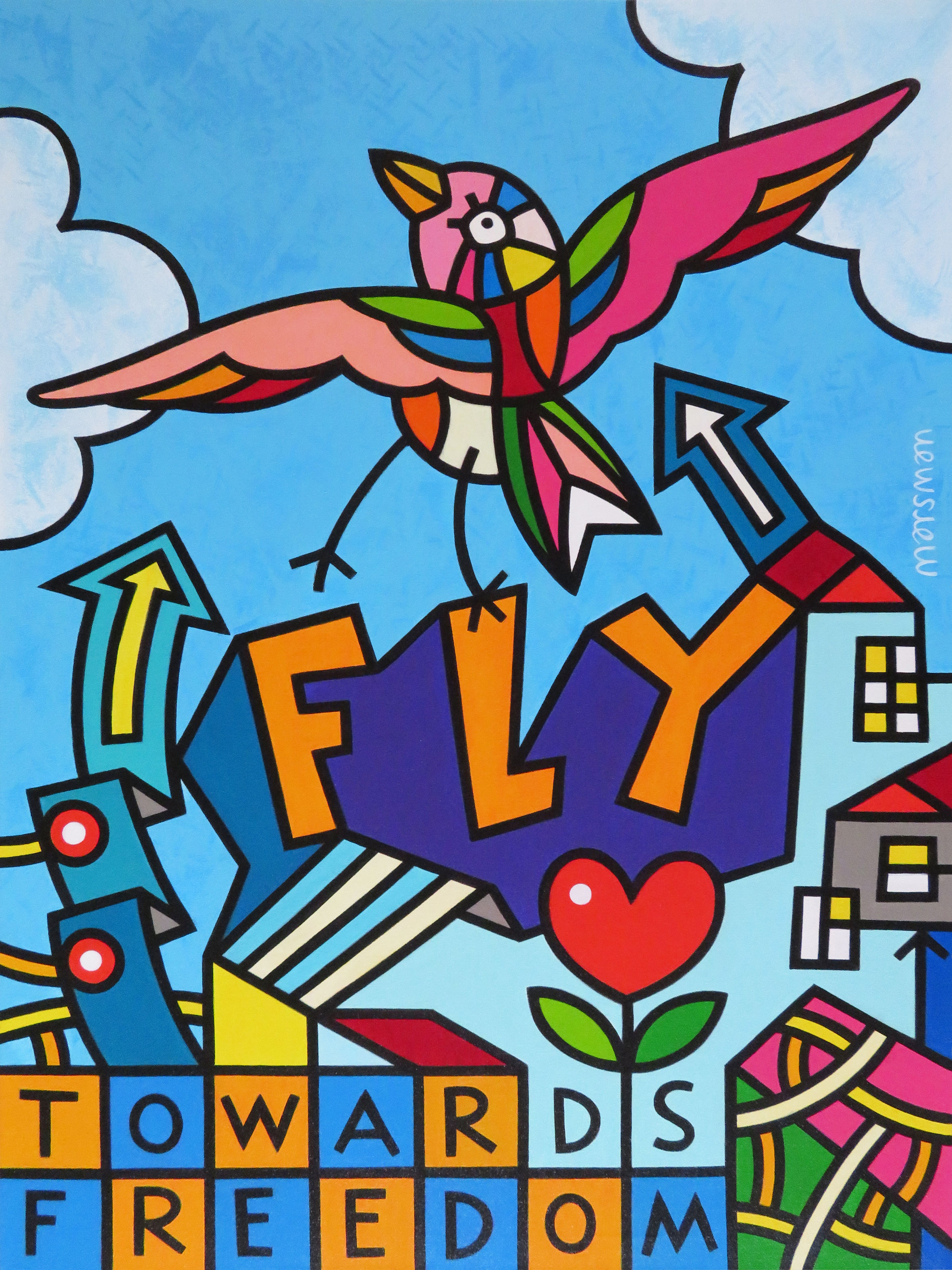 "<b>FLY TOWARDS FREEDOM (2)</b> - 60 x 80 x 3 cm - acrylic on canvas -   <a style=""color: red; text-decoration: none"" href=""mailto:jpgpmarsman@onsbrabantnet.nl"">BESTEL</a>"