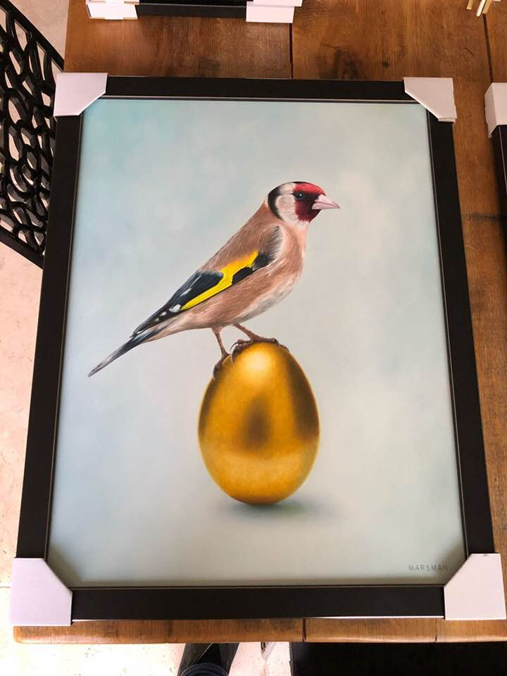 "<b>GOLDFINCH VERSUS GOLDEN EGG</b> - 42 x 55 cm - oilpaint on panel - SOLD  <a style=""color: red; text-decoration: none"" href=""mailto:jpgpmarsman@onsbrabantnet.nl"">BESTEL</a>"