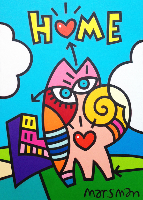 "<b>HOME</b> - 50 x 70 cm - acrylic on canvas - SOLD  <a style=""color: red; text-decoration: none"" href=""mailto:jpgpmarsman@onsbrabantnet.nl"">BESTEL</a>"