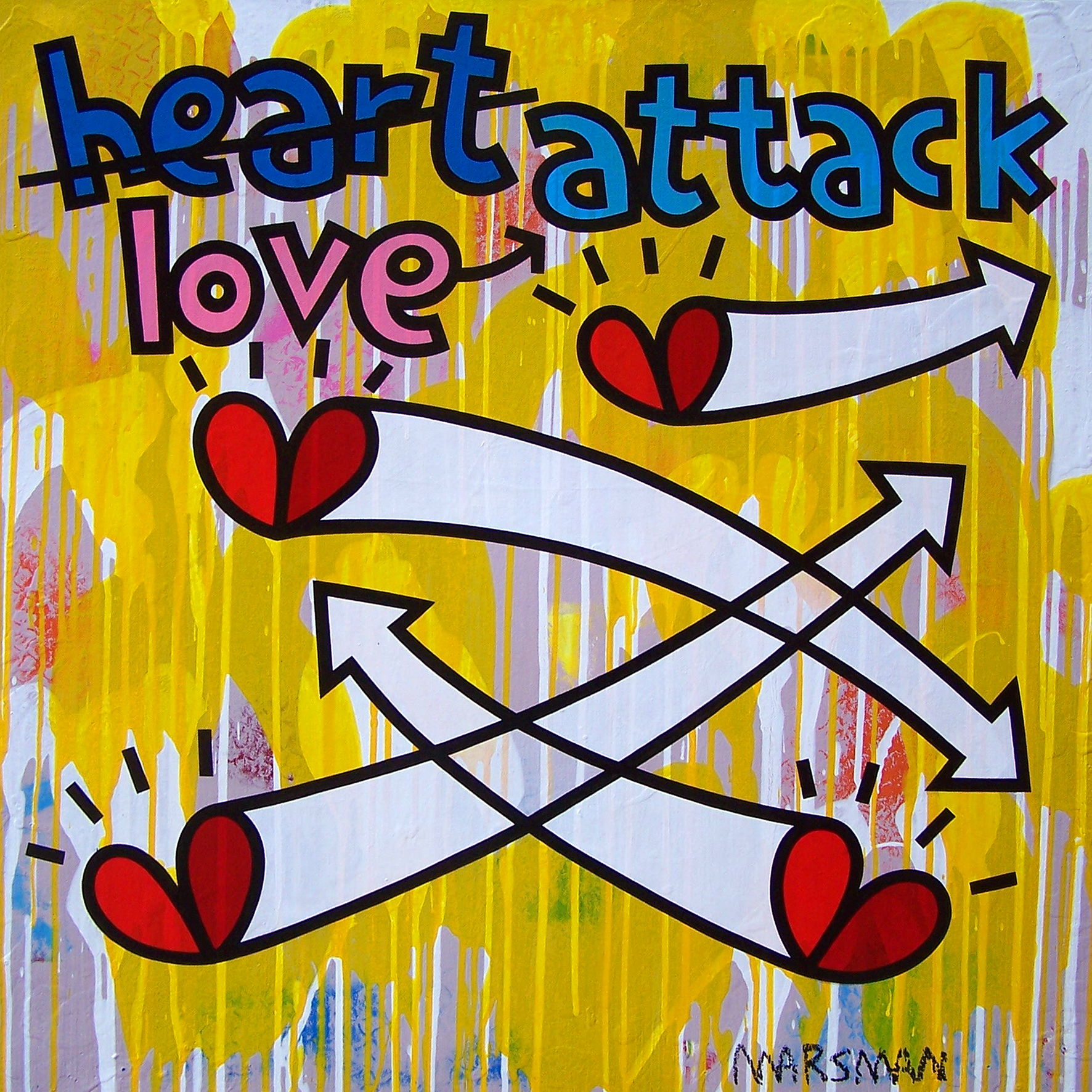 "<b>LOVE ATTACK</b> - 100 x 100 cm - acrylic on canvas - SOLD  <a style=""color: red; text-decoration: none"" href=""mailto:jpgpmarsman@onsbrabantnet.nl"">BESTEL</a>"