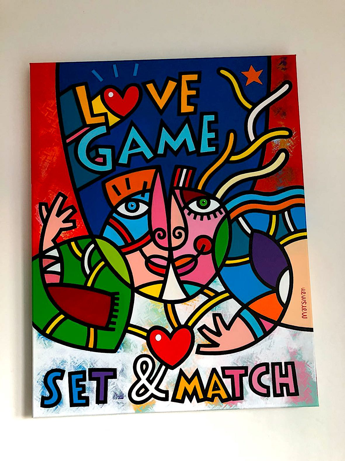 "<b>LOVEGAME</b> - 90 x 70 x 4 cm - Acrylic on canvas -   <a style=""color: red; text-decoration: none"" href=""mailto:jpgpmarsman@onsbrabantnet.nl"">BESTEL</a>"