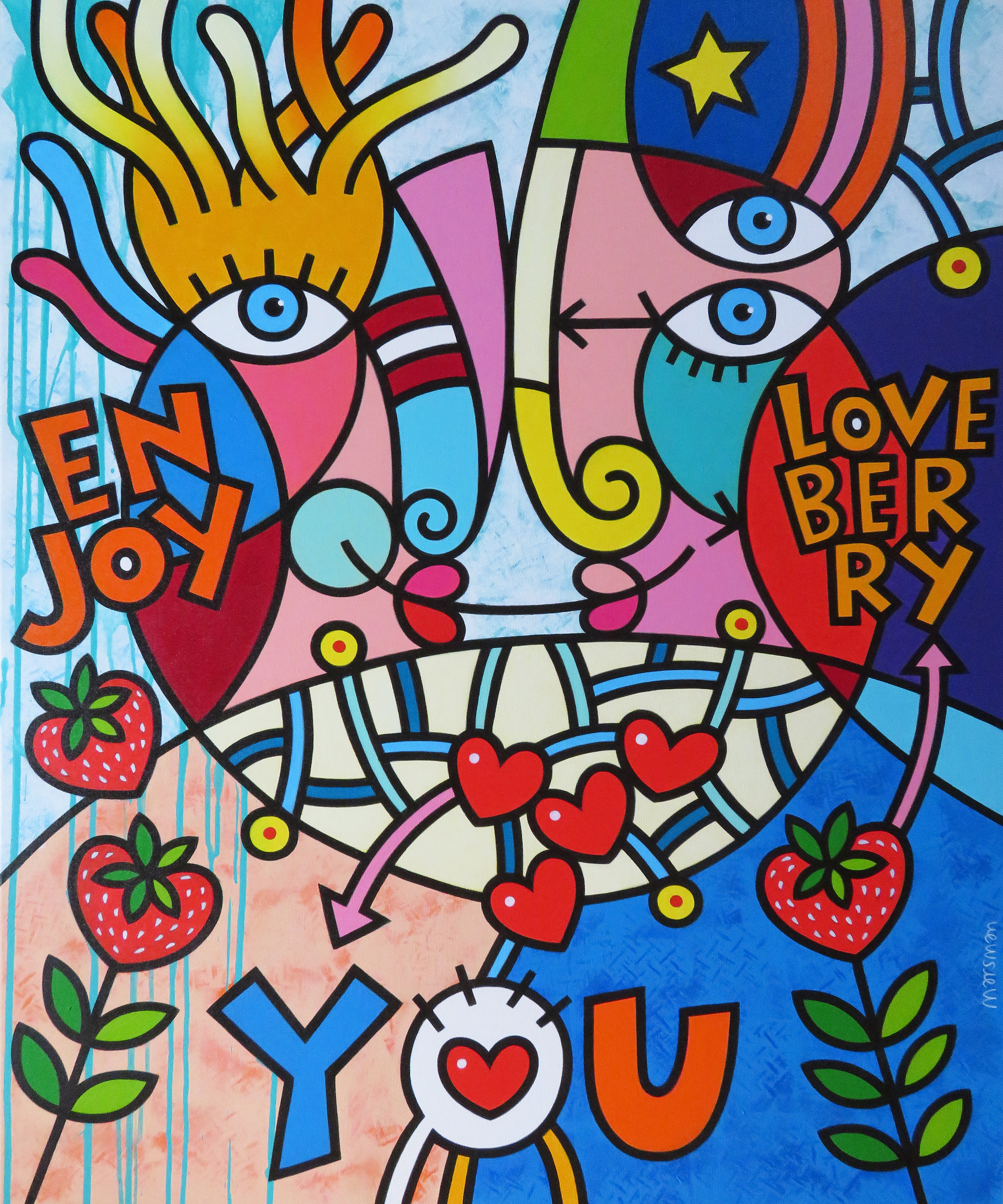 "<b>LOVE YOU</b> - 100 x 120 x 3 cm - acrylic on canvas -   <a style=""color: red; text-decoration: none"" href=""mailto:jpgpmarsman@onsbrabantnet.nl"">BESTEL</a>"