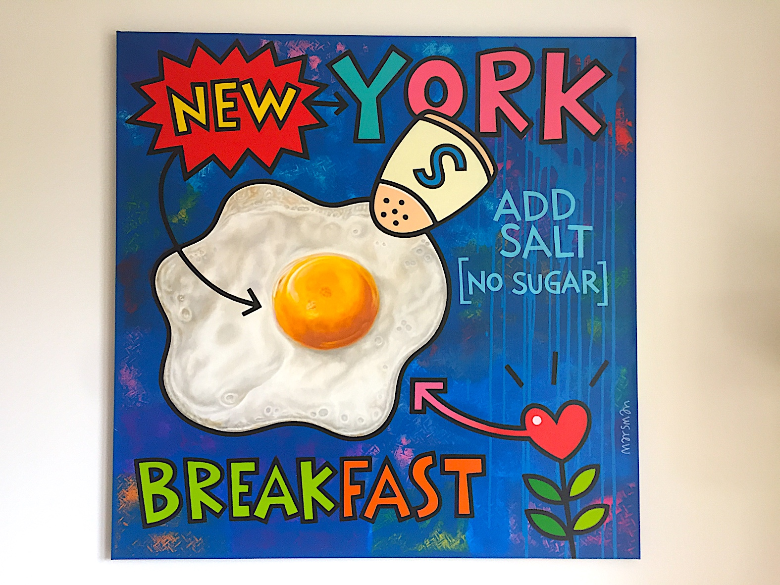 "<b>NEW YORK BREAKFAST</b> - 110 x 110 cm - acrylic and oilpaint on canvas - SOLD  <a style=""color: red; text-decoration: none"" href=""mailto:jpgpmarsman@onsbrabantnet.nl"">BESTEL</a>"