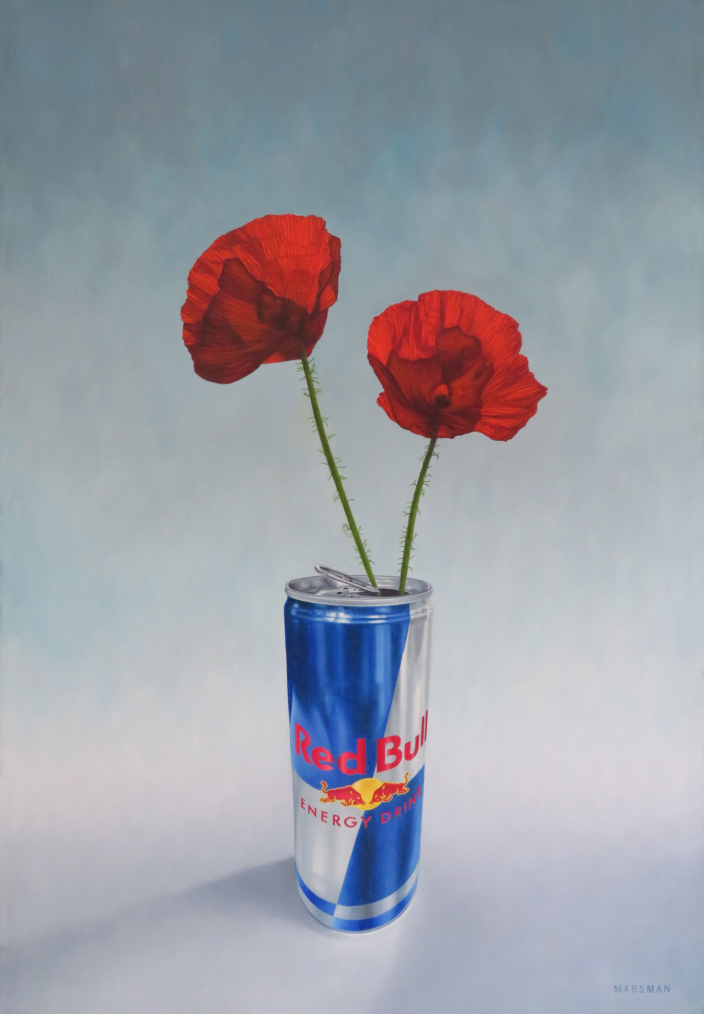 "<b>RED BULL VERSUS RED POPPIES</b> - 50 x 72 cm - oilpaint on panel -   <a style=""color: red; text-decoration: none"" href=""mailto:jpgpmarsman@onsbrabantnet.nl"">BESTEL</a>"