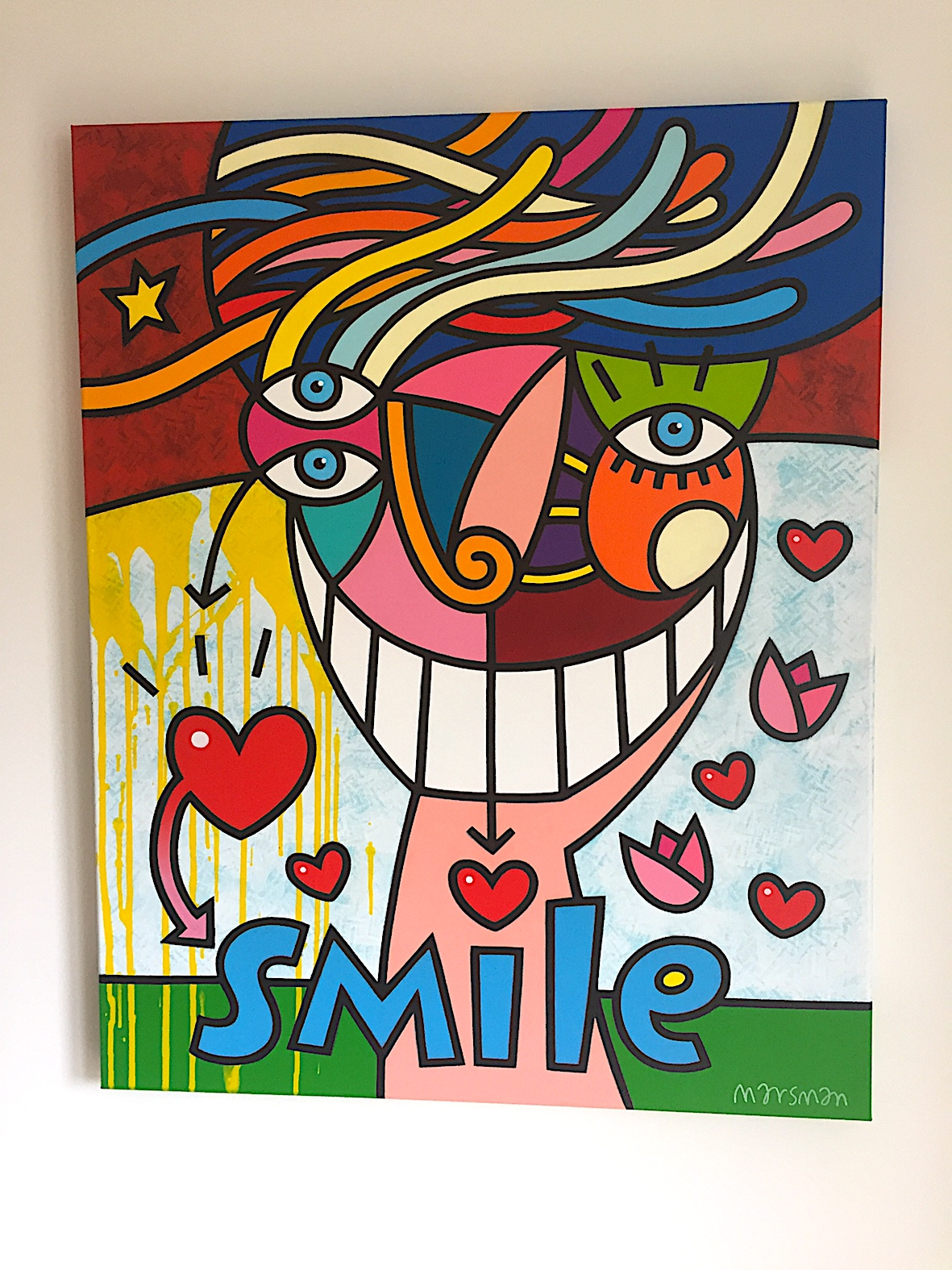 "<b>SMILE</b> - 80 x 100 cm - acrylic on canvas - SOLD  <a style=""color: red; text-decoration: none"" href=""mailto:jpgpmarsman@onsbrabantnet.nl"">BESTEL</a>"