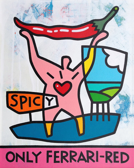 "<b>SPICY</b> - 40 x 50 cm - acrylic on canvas - SOLD  <a style=""color: red; text-decoration: none"" href=""mailto:jpgpmarsman@onsbrabantnet.nl"">BESTEL</a>"
